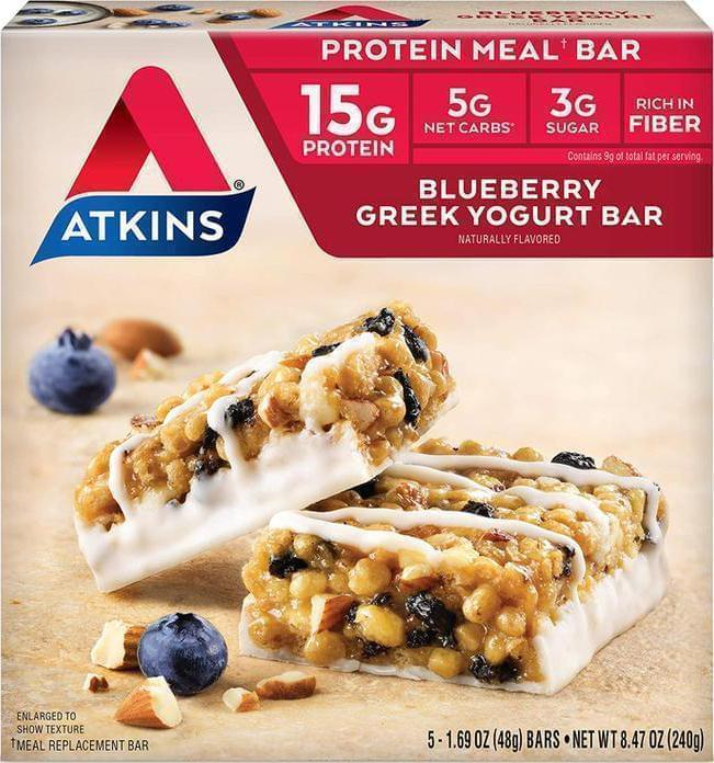 Our Top Ranked Atkins Meal Bar: Blueberry Greek Yogurt Atkins Protein-Rich Meal Bars